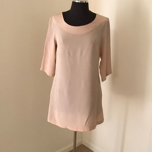 Aaron Ashe blush medium silk dress with 3/4 sleeve